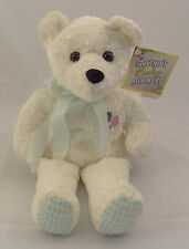 "SALVINO'S BABY BAMMERS ~ 14"" WHITE TEDDY BEAR PLUSH ~ Embroidered Balloons ~ NEW"