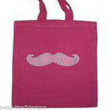 Cotton tote bag with rhinestone mustache  pink shopper long handle xmas movember