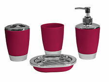 4pc Bathroom Accessory Set Tumbler Lotion Tooth Brush Holdr SoapTray Crimson Red