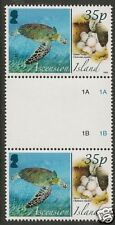ASCENSION 2008 ANIMALS EGGS GREEN TURTLE Gutter Pr MNH