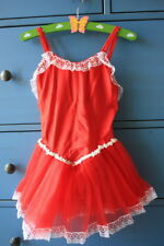 NEW Girls Ballet Lace Tutu Dance Costume - Red S