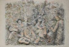 Lucien Philippe MORETTI - Lithographie originale signée - Sac de billes, groupe