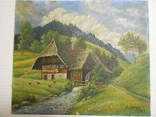 Stefan HINGER Rottweil Schramberg   Bauernhaus mit Mühle Ölgemälde von 1947