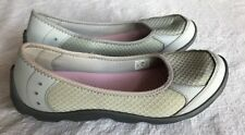 WOMAN'S CROCS 15375 DUET BUSY DAY BALLET SPORT ATHLEIC FLATS GRAY 8 EUC SLIP ON