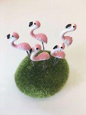 5 Terrarium Mini Pink Flamingo Stake Miniature Dollhouse Fairy Garden Accessorie