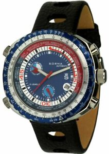 Sorna Worldtimer Automatikuhr blaues ZB Herrenuhr 5 ATM 21 Steine Armbanduhr