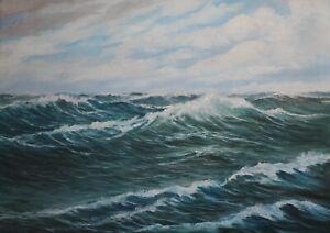 Gemälde von Max Gebert  Hohe See  Öl auf Platte
