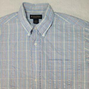 Brooks Brothers Men's Shirt Medium Blue Yellow Red Striped Short Sleeve Size M