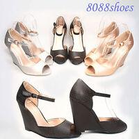 Women's Fashion Wedge High Heel Open Toe Buckle Sandal Shoes Size 5.5 - 11