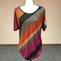 Lavish Women's Size M Short Sleeve Ruched Striped Blouse Top Orange Brown Red