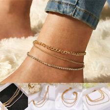 Bracelet Foot Anklets Women New 3Pcs/Set Fashion Simple Crystal Rhinestone Chain