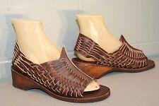 8.5 Nos True Vtg 1970s Huarache Leather Sandals Dark Brown Hippie Boho 70s Shoe