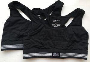 Jockey Womens Cotton Stretch Bralette (2 Pack) - Black - Large - 810110-999