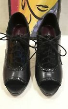 """""""Fioni""""-""""Indy"""" Blk Faux Leather Heel Classy Patent Accent Trim, Open Toe, EXC"""