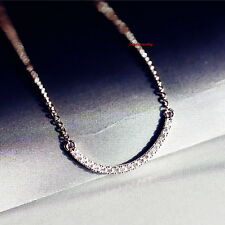 18k White Gold Filled Made with Swarovski Crystals Curved Bar Necklace N129