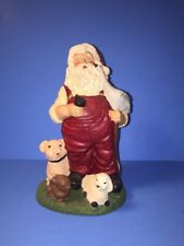 Christmas Santa Claus Figurine Resin W / Sheep Pig Rabbit Bunny Signed Ke