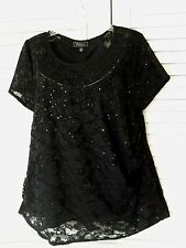 22 2X Dress Barn Collection Black Lace & Sequins Top Blouse Evening