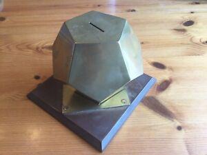 Unusual Geometric Pentagonal Brass Money Box On Bakelite Base