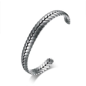 Stainless Steel Classic Norse Viking Style Wheat Cuff Bracelet Bangle