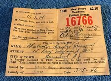 Vintage 1946 New Jersey Residents Fishing License- Good Condition