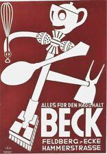 Original vintage poster BECK BUTLER EARLY HOUSHOLD ROBOT c.1935