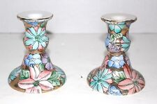 Pair Toyo Colored Flowers Ceramic Candlestick Holder Hand Painted Embossed