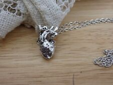 """Silver tone Anatomically Correct Heart Necklace 18"""". Anatomy gore goth science"""