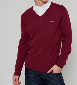 Lacoste Mens Jumper BNWT size XL (6) Red V Neck 100% Wool AH3003 Genuine