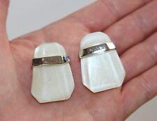 KUNIO MATSUMOTO TRIFARI White Lucite Rhodium Plated Geometric Pirced Earrings