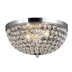 Elipse 13 in. 2-Light Chrome and Crystal Flush Mount by Elegant Designs
