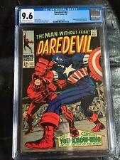 DAREDEVIL #43 CGC NM+ 9.6; OW-W; Kirby Captain America cvr; origin retold!