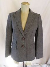 J CREW Hacking gray wool tweed leather button fitted jacket blazer 6