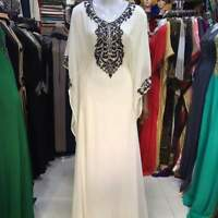 WHITE GEORGETTE MOROCCAN  KAFTANS ABAYA DRESS FANCY LONG GOWN FARASHA MS 1991
