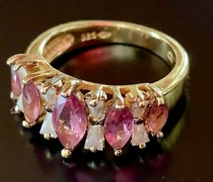 Pink Tourmaline Gold over Sterling Silver Ring Sz. 4 3/4 Marquise Estate