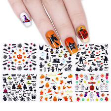 24 Sheets Halloween 3D Nail Art Stickers Adhesive Transfer Decals Decoration~