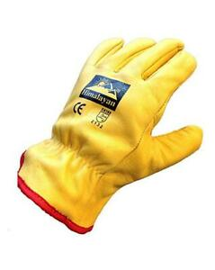 Mens Himalayan Full Fleece Lined Leather Winter Cold Drivers Gloves Sizes M L XL