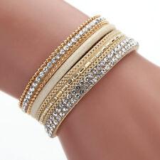 New Fashion Leather Wrap Wristband Cuff Punk Crystal Magnetic Bracelet Bangle