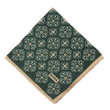 NWT RODA Deep Emerald Green Medallion Print Wool Pocket Square