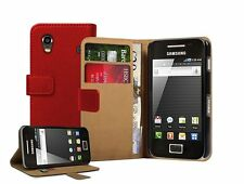 RED Wallet Leather Case Cover Pouch For Samsung Galaxy ACE LA FLEUR / ACE VE