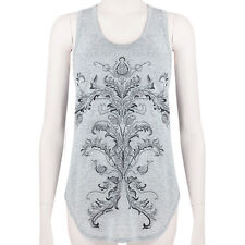 Alexander McQueen Grey Shimmering Onyx Thistle Emboidered Vest Tank Top IT40 UK8