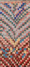 Antique Geometric Modern Moroccan Oriental Runner Rug Hand-knotted WOOL 4'x7'