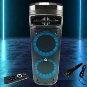 LED DJ Musik Anlage Party Farbwechsel USB SD Bluetooth Mikrofon MP3 Lautsprecher