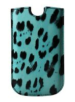 NEW $120 DOLCE & GABBANA Phone Case Cover Blue Leopard Pattern Leather SIII