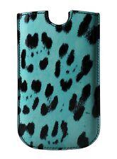 NUEVO DOLCE & GABBANA Funda de teléfono azul diseño de Leopardo Cuero SIII