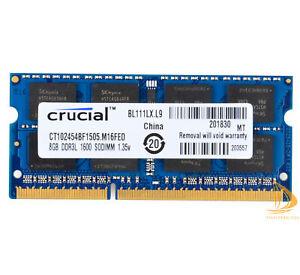 Crucial 8 Go 2Rx8 PC3L-12800S DDR3L 1600Mhz SODIMM RAM mémoire portable 1.35V