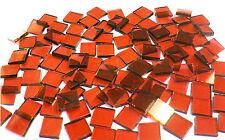 "110 Mosaic Tiles 1/2"" Sunkist Orange Transparent Stained Glass Stunning!"