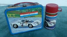 1967 Auto Race Lunch Box, Thermos, Vintage Lunch Box