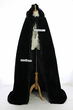 cape-02 NOIR VELOURS long Cape habit moyen-âge gothique vampire