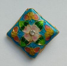 Diamond Cloisonne Bead, Blue/Pink/Rhinestone, 22mm. Jewellery Making/Crafts