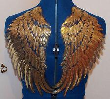 Gold sequin dentelle patch broderie aile Motif Applique Robe Costume de danse